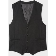 Paul Smith Men's Tailored-Fit Charcoal Wool Waistcoat ($315) ❤ liked on Polyvore featuring men's fashion, men's clothing, men's outerwear, men's vests, mens wool outerwear, mens wool vest, mens wool waistcoat and mens travel vest