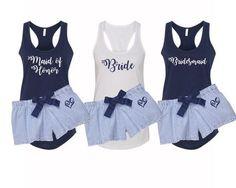 Bridal Party Pajamas, Bridesmaid pjs, bridal pjs, bridal party gifts, bridesmaid gifts, maid of honor gift, something blue pajamas, bride