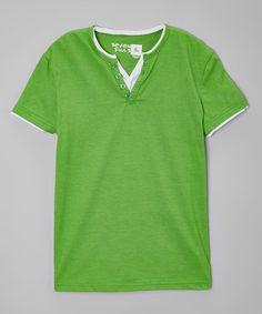 Look at this #zulilyfind! Classic Green Button V-Neck Tee - Boys #zulilyfinds