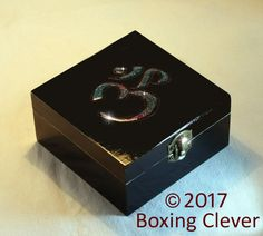 Ohm Symbol Jewellery Box - Wooden Engraved Blue Glitter & Black Gloss Finish-4.7x4.7x2.3 Inches- Keepsake/Trinket/Jewelry FREE DELIVERY UK
