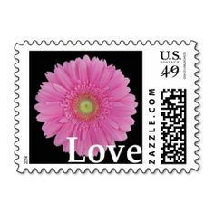 Medium Pink, Gerbera Daisy, Love, Postage Stamps (also available in light pink). Cute for engagement party, wedding, bridal shower, vow renewal, and anniversary invitations, announcements, save the dates, and thank you notes. #pink #gerbera #gerber #daisy #stamps #wedding #shower #invitation #envelopes