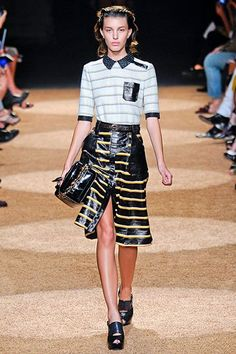 Proenza Shouler F/W 2011- 60s Mod dress- like top with shiny pencil skirt with a slit: 60s loved unusual fabric