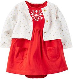 Carters Baby Girls 2 Piece Dress Set Baby  Red Dot  9 Months * Continue to the product at the image link. (This is an affiliate link) #BabyGirlDresses