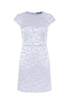 Oasis, JACQUARD SHIFT DRESS Multi Blue
