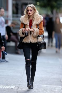 #shearling jacket #fall look #street style
