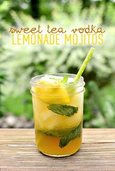 Sweet Tea Vodka Lemonade Mojitos (Make Ahead!)