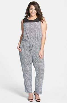 Vince Camuto Contrast Yoke Print Jumpsuit (Plus Size) available at #Nordstrom
