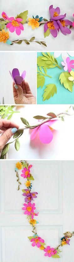 Paper Flower Garlands | 15 DIY Wedding Ideas on a Budget