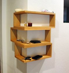 GBANDWOOD Floating Wrap Around Wall Shelves, Wall Mounted Mitred Corner Shelving Unit, Large Entryway Organizer, Key Organizer, Phone Mail Holder Corner Shelf Design, Corner Shelving Unit, Diy Corner Shelf, Wall Mounted Corner Shelves, Floating Corner Shelves, Floating Wall, Glass Shelves, Bathroom Shelves, Diy Home Decor On A Budget