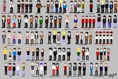 Chuck Berry, Elvis Presley, The Beatles, Bob Dylan, The Velvet Underground, The Who, Jimi Hendrix, The Rolling Stones, The Doors, Led Zeppelin, Black Sabbath, Iggy Pop, David Bowie, Kraftwerk, The Ramones, Sex Pistols, The Clash, AC/DC, Joy Division, Devo, Sonic Youth, Metallica, The Cure, Nirvana, Weezer, Blur, Beck, Smashing Pumpkins, The White Stripes, Queens Of The Stone Age, Franz Ferdinand