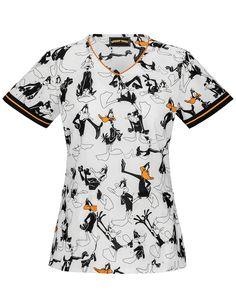 Tooniforms Daffy Duck V-Neck Print Scrub Top