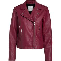 BIKER JACKET BESTSELLER.COM (31.535 CLP) ❤ liked on Polyvore featuring outerwear, jackets, purple moto jacket, long sleeve jacket, collar jacket, zipper collar jacket and rider jacket