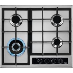 HGB64420YM   AEG Gas Hob   4 Burners   ao.com Cooker Hobs, Cast Iron Wok, Cheap Gas, Tumble Dryers, Washer Machine, Electrical Connection, It Cast, Stainless Steel, Design