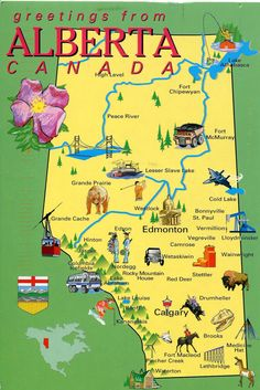 Alberta, Canada - map. Family owns land in this sector of Canada.  Beautiful…