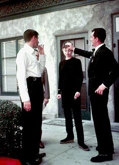 Dean Martin and Jerry Lewis visit Audrey Hepburn on the set of Sabrina, 1954.