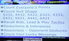 CARD PLAY by Declarer - Know yourself and your opponents (Bridge Hands Social Lesson #10 - Bridge Declarer Play, Part 1, Look-alike Hands (YouTube))