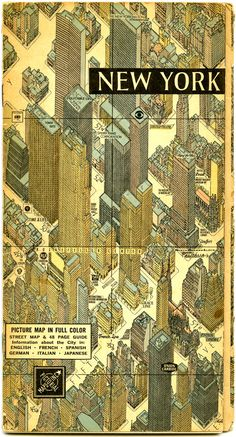 http://pinterest.com/riccai/architectural-representation/ | 1950s NYC pictorial map: booklet cover