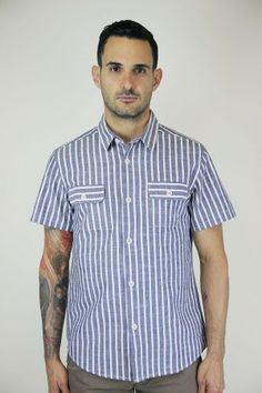 OURS Mid Century shirt in Blue/Ivory