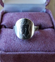 Sold $15.00  Vintage NEWFOUNDLAND Sterling Silver COIN RING-Size 4.5 by feathersoup on Etsy