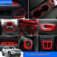 Car Styling Red color For Jeep Compass 2017 Car Interior decoration Sequins Car Sticker Inner Door Handle Box Sequins #Affiliate