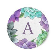 Succulent Florals Monogram Stickers | Lavender Wedding Initials, Monogram Wedding, Monogram Initials, Cactus Stickers, Round Stickers, Monogram Stickers, Custom Stickers, Watercolor Design, Floral Watercolor