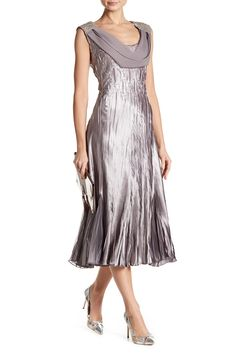 Crinkle Beaded Shoulder Cowl Neck Dress by KOMAROV on @nordstrom_rack
