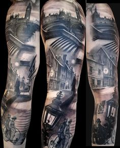 See more Old city street tattoos on arm