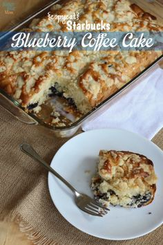 Blueberry Coffee Cake Light Recipe -Starbucks Copycat (give with a hearty breakfast casserole and jug of oj) Brunch Recipes, Cake Recipes, Breakfast Recipes, Dessert Recipes, Brunch Ideas, Breakfast Casserole, Dessert Ideas, Drink Recipes, Starbucks Recipes