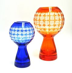 Two mid-late East German Harz-Kristall colour-flashed optical ball vases, designed by Marita Voigt in Offered by Mark Hill at Grays Antiques. Grey Glass, Mason Jar Wine Glass, Colored Glass, Vintage Designs, Voigt, Mark Hill, Glass Art, Antiques, Tableware
