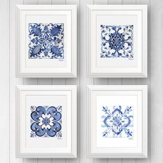 Azulejo Portuguese tile art - Talavera tile - Mexican Tile - Tile Art Print Set of 4 - Blue and white tile art painting - Pattern Tile Art Chartreuse Decor, Decoration Bedroom, Boho Home, Portuguese Tiles, Diy Décoration, White Tiles, Home And Deco, White Decor, Blue Wall Decor