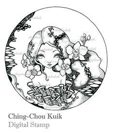 Orquídea - sello Digital instantánea descargar / orquídea japonesa Oriental flor chica Lady Fantasy Art por Ching-Chou Kuik
