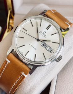Omega 1970s vintage Geneve Day Date Automatic Mens 🇨🇭 watch FOR SALE 👇 Mens Watches For Sale, Vintage Watches For Men, Luxury Watches For Men, Amazing Watches, Vintage Omega, Omega Seamaster, Omega Watch, Rolex, Mens Fashion
