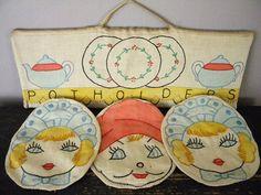 Vintage Embroidered Pot Holder Set with Wooden Hanger by violet64