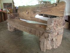 Wood bench from river log - We met this amazing carpenter/artist Ahmed Al Alaf in Kota Bharu, Malaysia. He carves unique furniture and display pieces from driftwood, other salvage wood and exotic species.