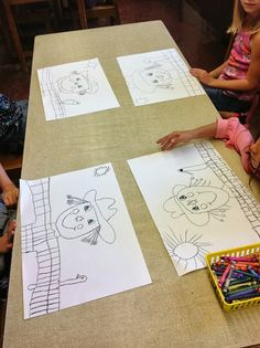 Grade 1 scarecrows Drawn step by step with teacher Color It Like you MEAN it!