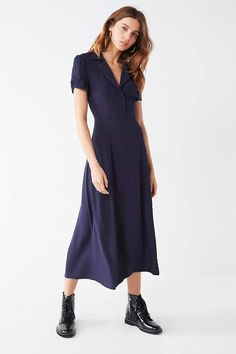 973bdc7e100 Shop UO Charlotte Button-Down Midi Shirt Dress at Urban Outfitters today.  We carry all the latest styles