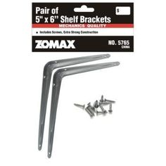 """5"""" x 6"""" Shelf Brackets Case Pack 48 - 425054 by Zomax. $57.97. Please refer to the title for the exact description of the item. Allof theproductsshowcased throughoutare100%OriginalBrand Names.. 100% SATISFACTION GUARANTEED. 5 Inch x 6 Inch Shelf Brackets. Includes Screws, Extra strong Construction. Bar Coded."""" Case Pack 48 Please note: If there is a color/size/type option, the option closest to the image will be shipped (Or you may receive a random c..."""
