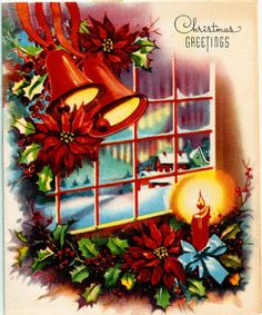 Vintage Christmas Card Pretty Bells Window Candle