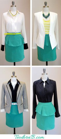 One skirt - sooooo many ways to style it for your business meeting. I especially like the last 2