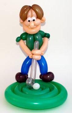 Escultura de golfista hecha con globos   -   Golfer balloon art sculpture