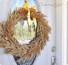 Natural grass wreath...to keep from shedding maybe spray with clear lacquer before hanging?