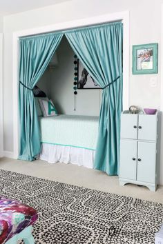 OMG, what kid wouldn't love this cozy bed nook? Learn all about how to turn a closet into a bed nook by clicking through to the post. Spackling tips included :) Bedroom Nook, Room Design Bedroom, Girl Bedroom Designs, Room Ideas Bedroom, Bedroom Decor, Closet Nook, Bed In Closet, Playroom Closet, Closet Small