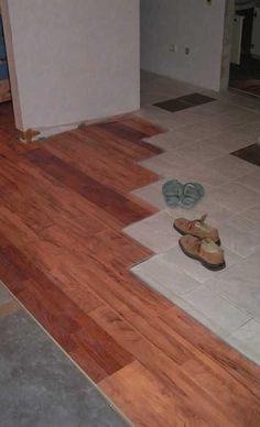 flooring ideas, combination of wood laminate and floor tiles Linoleum Flooring, Terrazzo Flooring, Living Room Flooring, Timber Flooring, Grey Flooring, Concrete Floors, Vinyl Flooring, Ceramic Flooring, Bedroom Flooring