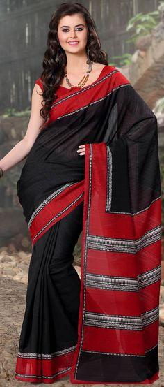 Black and Red Art Silk Saree with Blouse