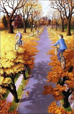 With a strange mix of Salvador Dali and Rene Magritte, the impact these 2 famous artists had on Robert Gonsalves life is quite clear. With a stunning mash-up of mind-bending illusions and amazing p… Illusion Kunst, Illusion Art, Illusion Pics, Illusion Drawings, Optical Illusion Paintings, Optical Illusions, Magic Illusions, Art Optical, Rene Magritte