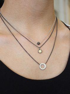 Rosa Maria Necklaces @Heather Creswell Creswell Dickinson Of Belfast.   Globus Diamond, Black Diamond and Silver Hoop.