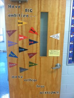 Starting to think about college. Elementary/middle school counseling office decoration.
