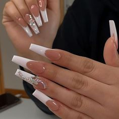 French Tip Acrylic Nails, Long Square Acrylic Nails, Bling Acrylic Nails, White Acrylic Nails, Best Acrylic Nails, Rhinestone Nails, Long French Tip Nails, White Coffin Nails, French Tips