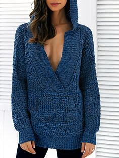 Pullover Hooded Heathered Sweater