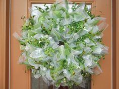 Deco Mesh Green and White Christmas Ruffle Wreath by DecoDzigns